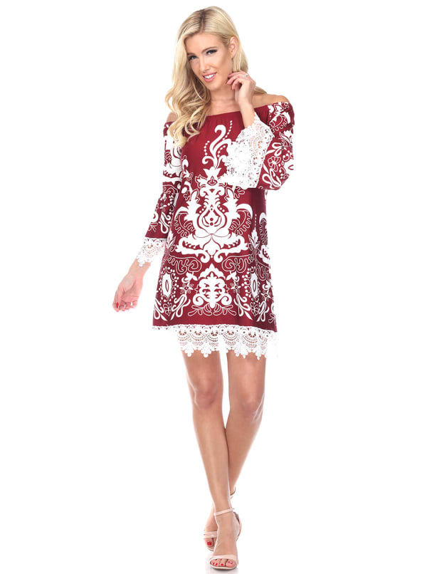 Uniss 3/4 Bell Sleeve Lace Hemline Dress - Burgundy - Front