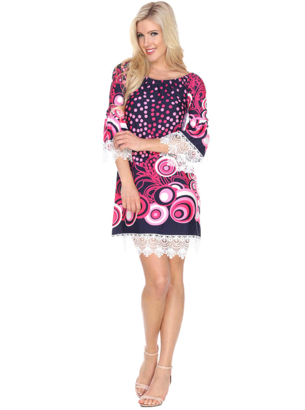 Lenora 3/4 Bell Sleeve Lace Hemline Dress - Navy / Pink - Front