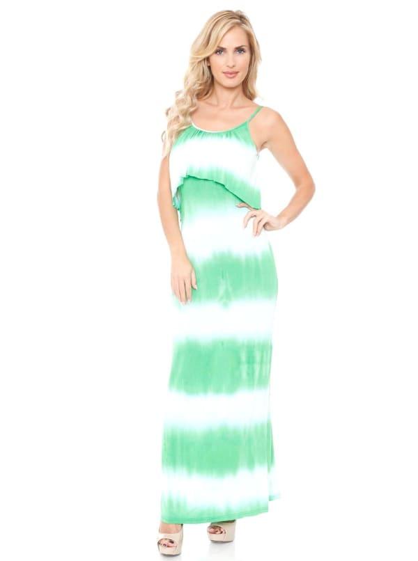 Kalea Tie Dye Overlay Maxi Dress - Navy / White - Front