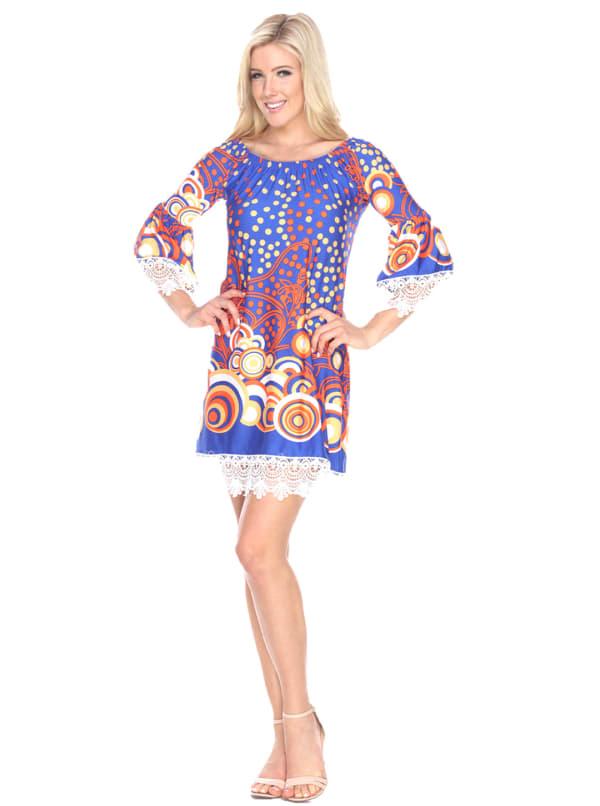 Lenora 3/4 Bell Sleeve Lace Hemline Dress - Royal / Orange - Front