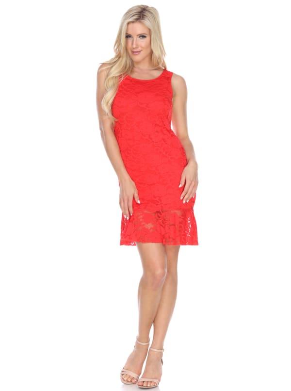 Cila Sleeveless Wrinkle Free Dress - Red - Front