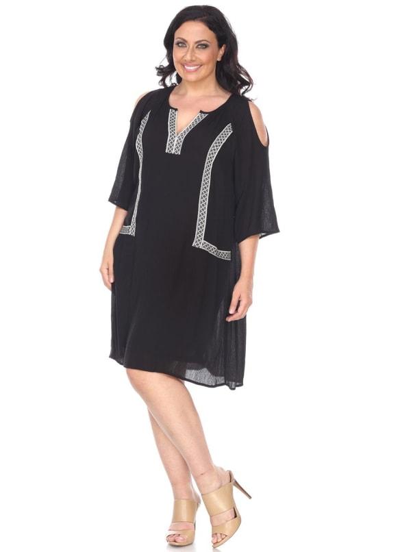 Marybeth V-Neckline Embroidered Dress - Plus - Black - Front