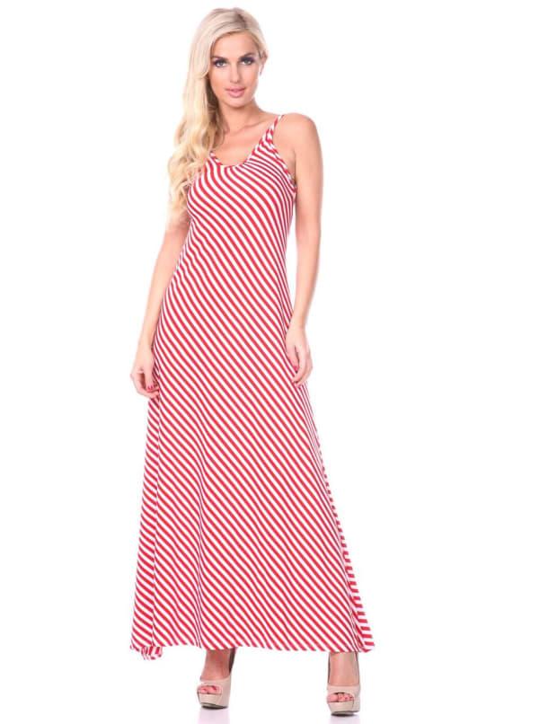 Backless Scoop Neckline Striped Maxi Dress