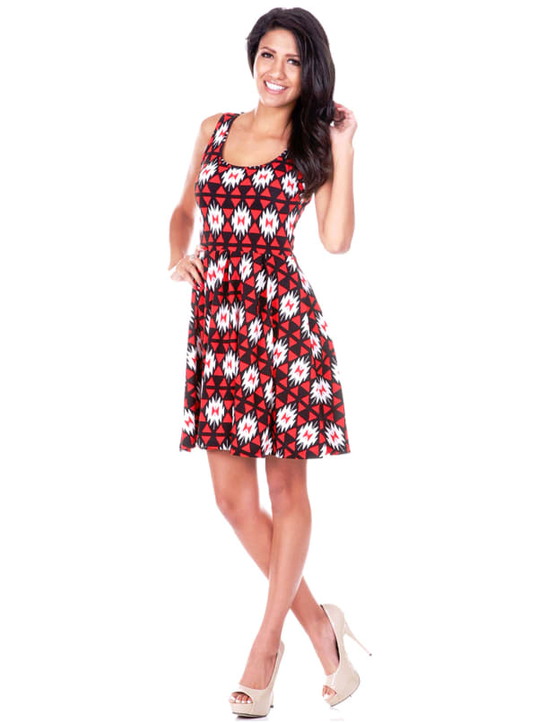 Crystal Bold Print Sleeveless Dress - Red / Black - Front