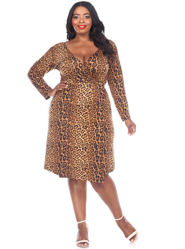 Roselle Long Sleeve Wrap Dress - Plus - Brown Cheetah - Front