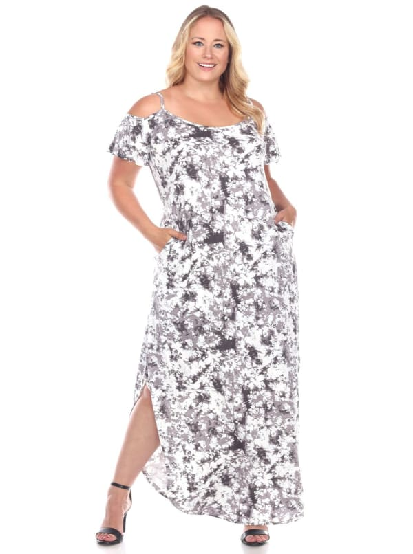 Cold Shoulder Tie Dye Maxi Dress - Plus - Black / White - Front