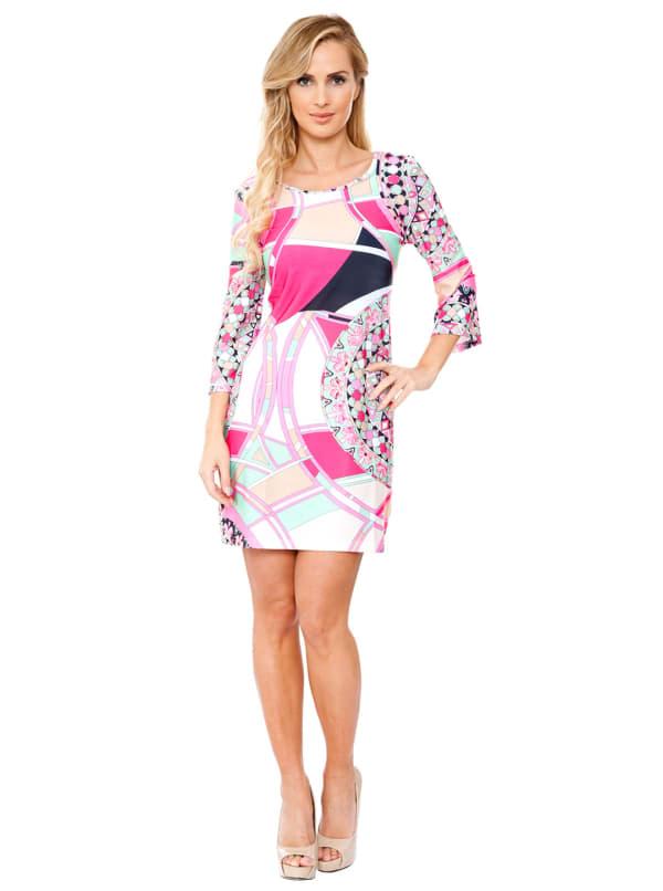 Nikki 3/4 Bell Sleeve Knit Dress - Mint / Pink - Front