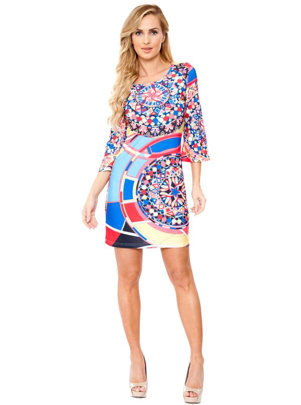 Nikki Three Quarter Bell Sleeve Knit Dress