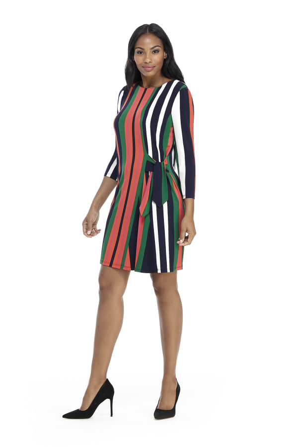 Veronica Three Quarter Sleeve Striped Shift Dress - Petite