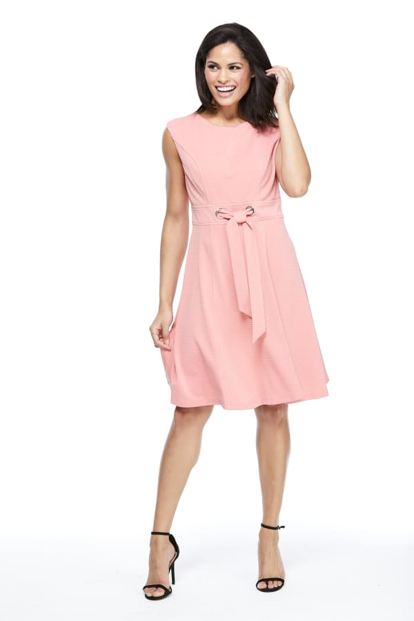 Betty Cap Sleeve Tie Waist Fit and Flare Dress - Petite