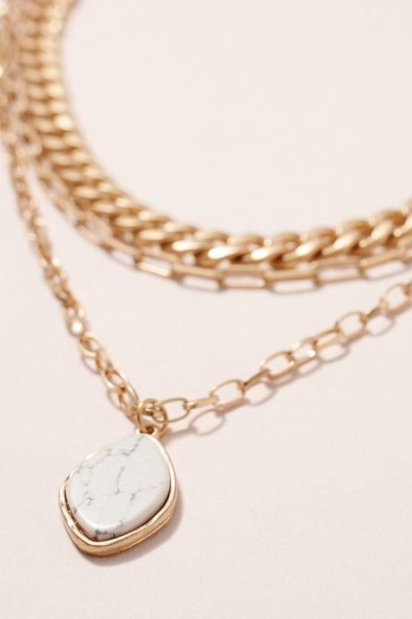 Stone Pendant Triple Layered Necklace