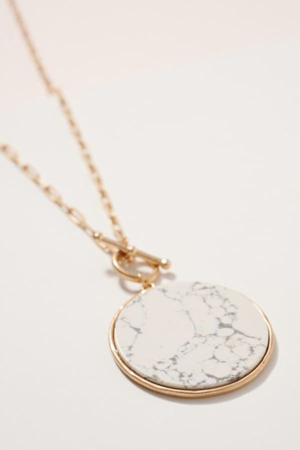 Round Stone Pendant Long Necklace - Howlite White - Front