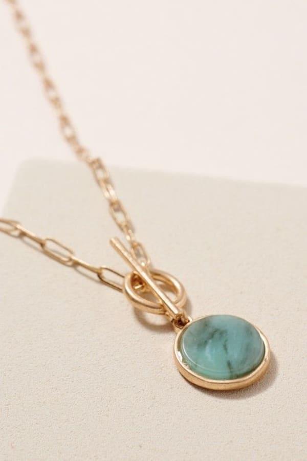 Round Stone Pendant Short Necklace - Amazonite - Front