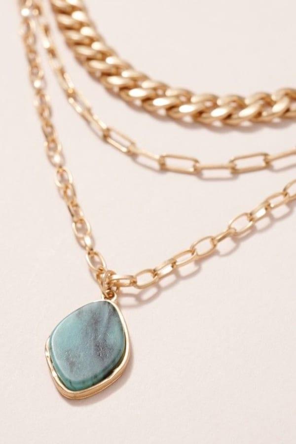 Stone Pendant Triple Layered Necklace - Amazonite - Front