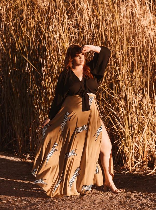 Maxi Wrap Skirt Without Ruffles - Plus