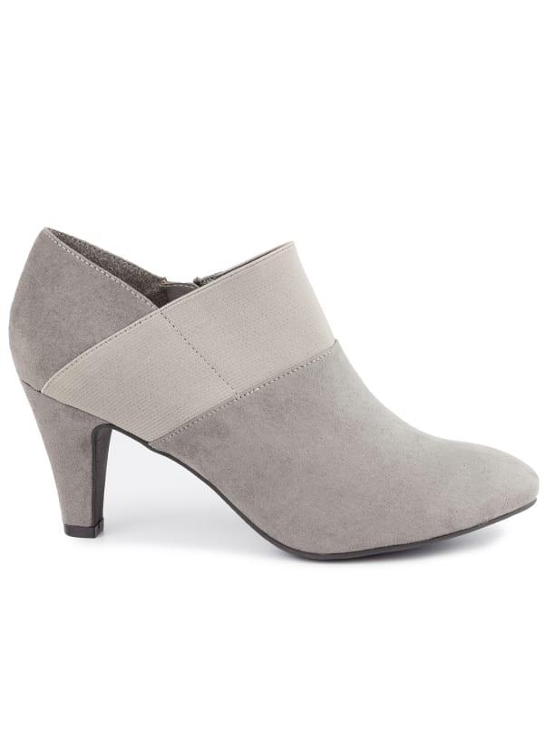 Bobbie Faux Suede Shoe Boots - Grey faux suede - Front
