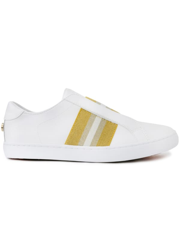 Briton Slip-On Sneakers - Gold Stripe - Front