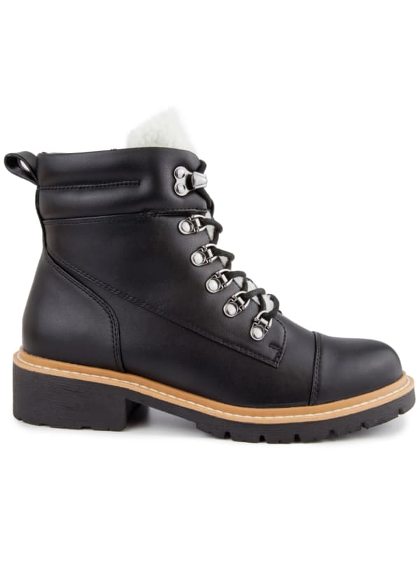 Dennis Round Toe Hiker Boots - Black / Smooth - Front