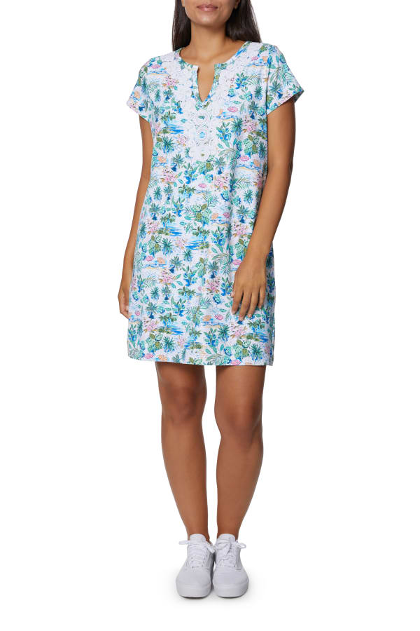 Caribbean Joe V-Neck Embroidered Dress - Aqua - Front