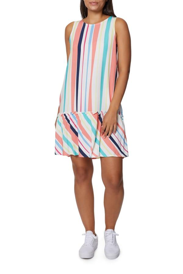 Caribbean Joe Ruffle Bottom Dress - White - Front