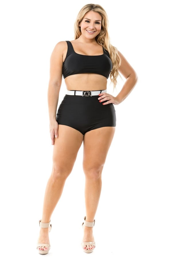 CaCelin Ultra High Waist Bikini Swimsuit - Plus - Black - Front