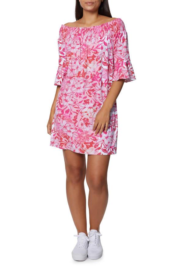 Caribbean Joe Ruffle Off Shoulder Dress - Hot Pink - Front