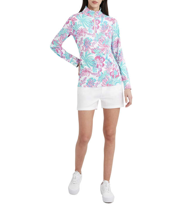 Stella Parker Kennedy 3-4 Sleeve Zip Front Pullover - Dreamy Jungle - Front