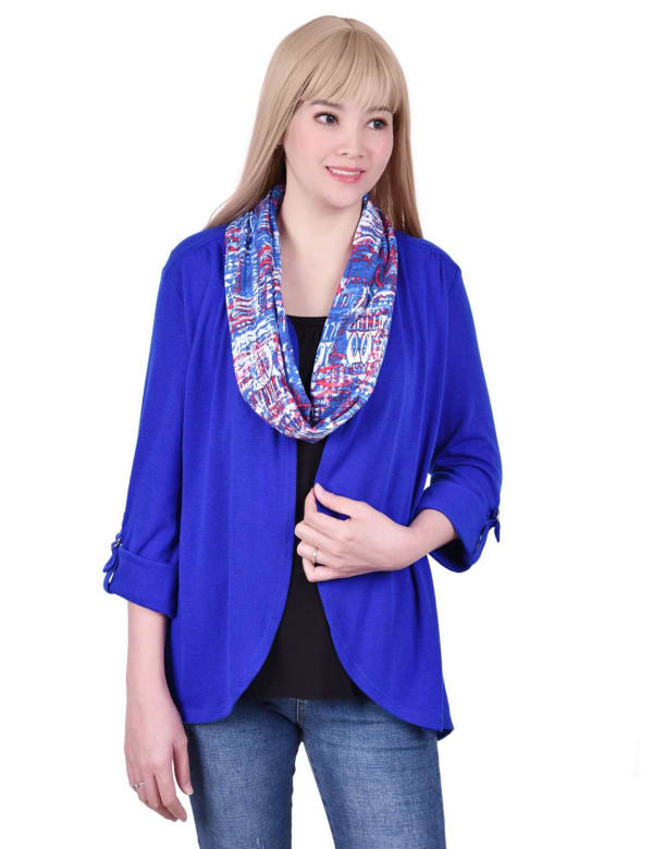 3/4 Roll Sleeve Cardigan With Detachable Scarf - Petite