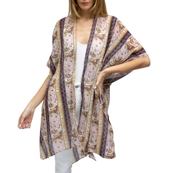 Stripe Floral Kimono With Wide Galaxy - Blush - Front