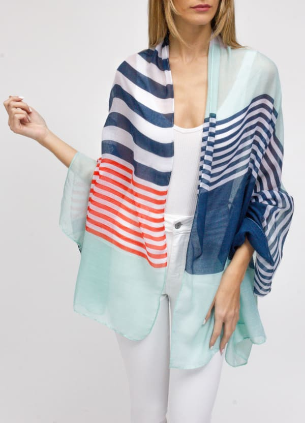 Multi Nautical Stripe Shawl