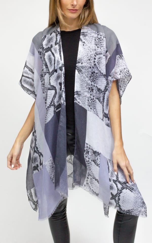 Colorblock Snakeskin Kimono