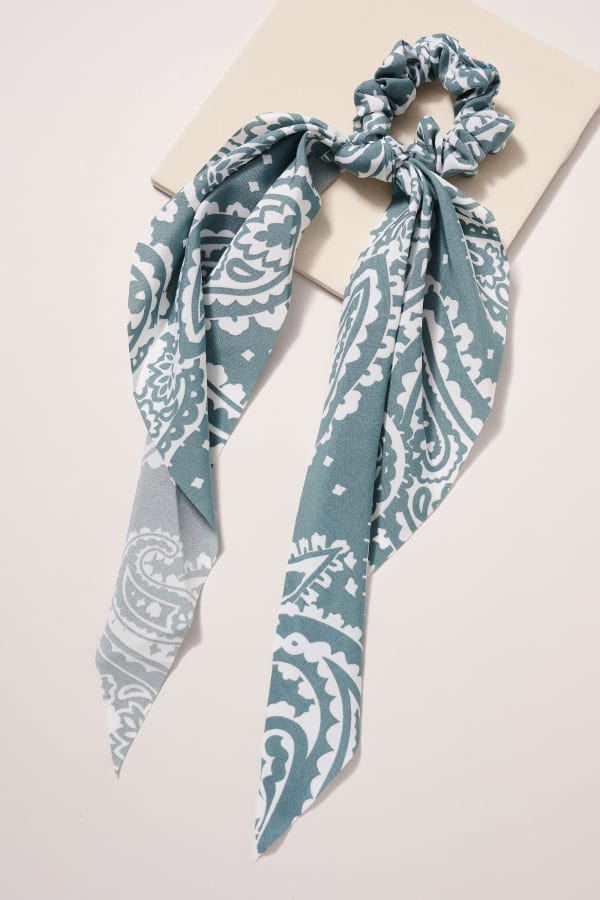 Paisley Print Scarf Pony - Blue - Front
