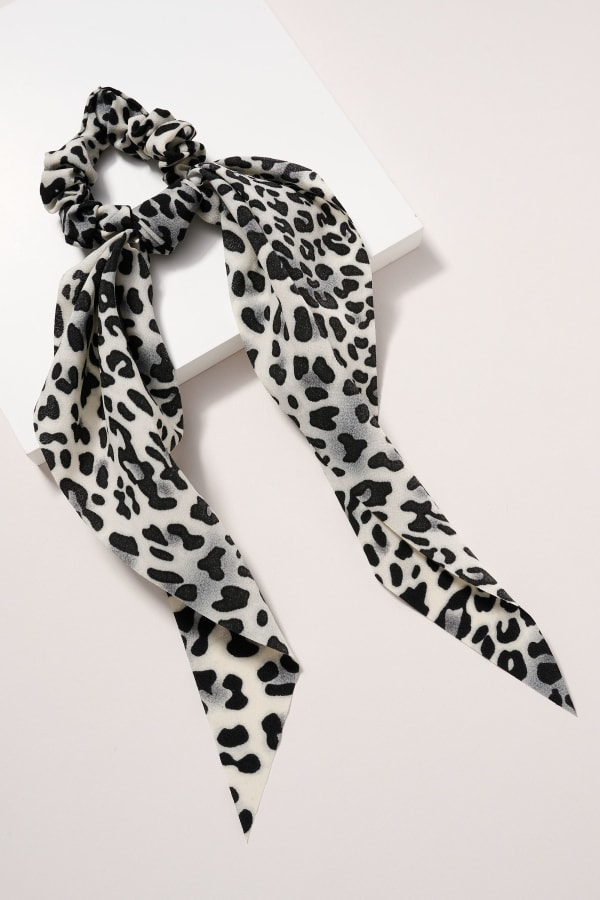 Animal Print Scarf Pony - Grey - Front