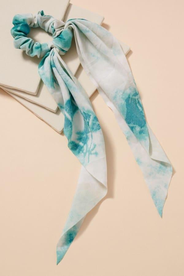 Tie Dye Print Scarf Pony - Blue - Front