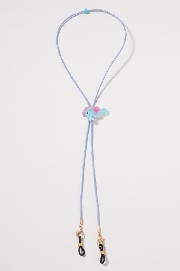 Plain Cord Animal Adjuster Mask Lanyards Kids - Blue - Front