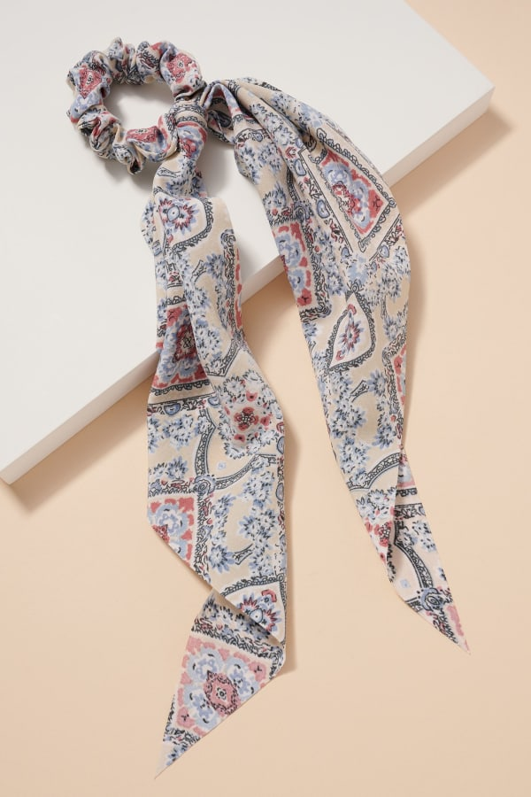 Floral Print Scarf Pony - Blue / Multi - Front