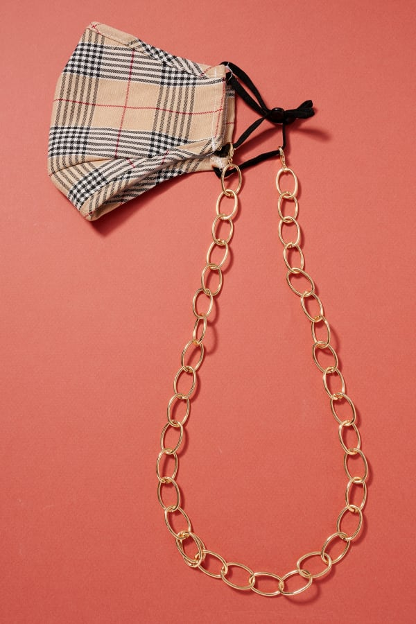 Gold Plated Metal Chain Linked Mask Lanyards - Gold - Front