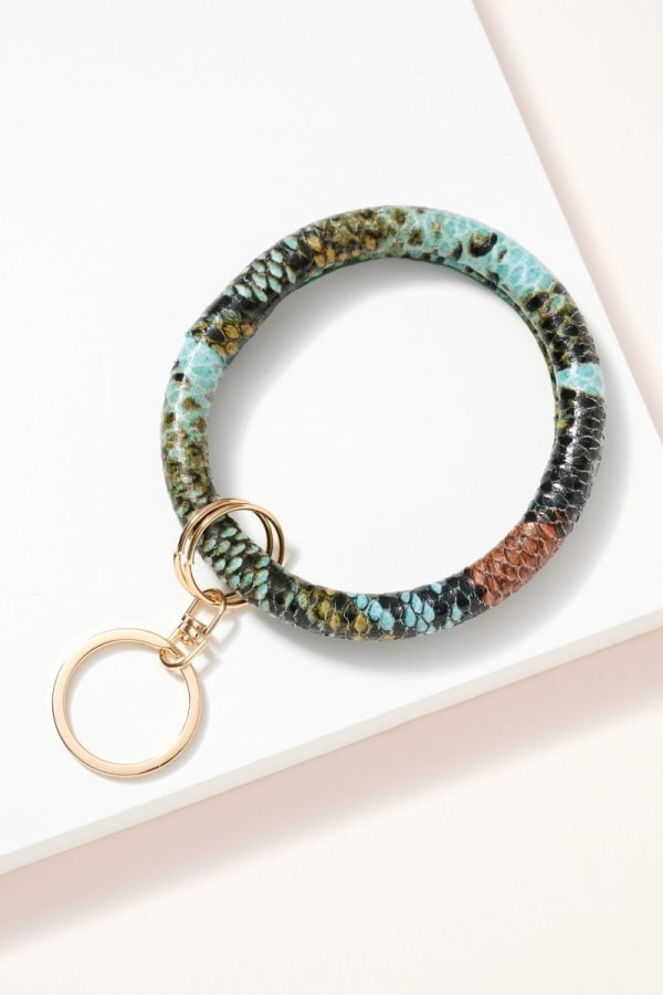 Snake Print Leather Key Ring - Blue - Front