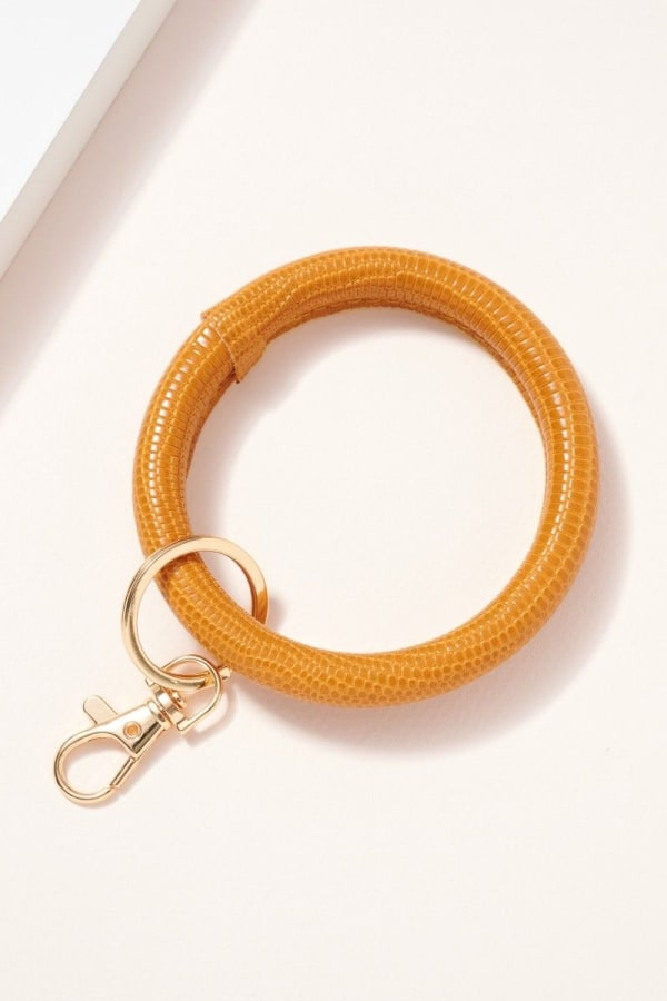 Crock Embossed Leather Key Ring - Mustard - Front