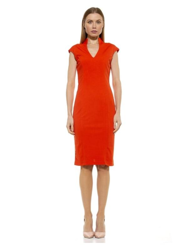 Katrina V Neck Midi Dress - Cobalt - Front