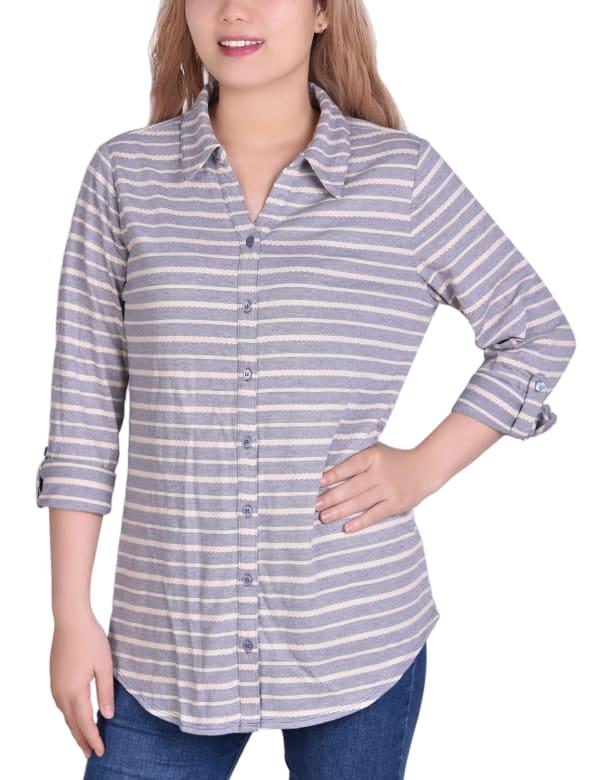 3/4 Sleeve Roll Tab Striped Jacquard Blouse