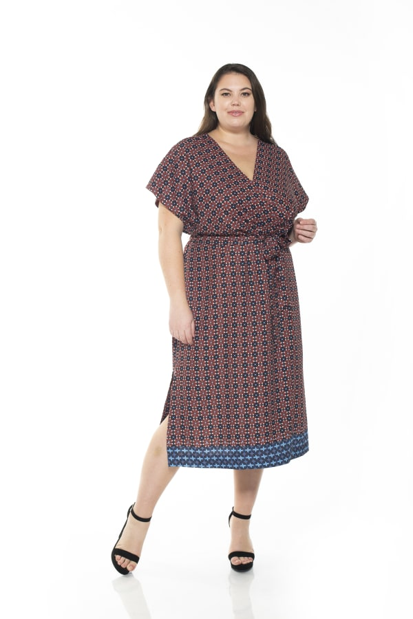 Iris Wrap Dress - Plus - Rust Geo - Front