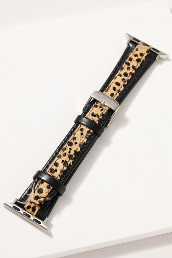 Animal Print Calf Hair Leather iWatch Band - Cheetah Brown - Front