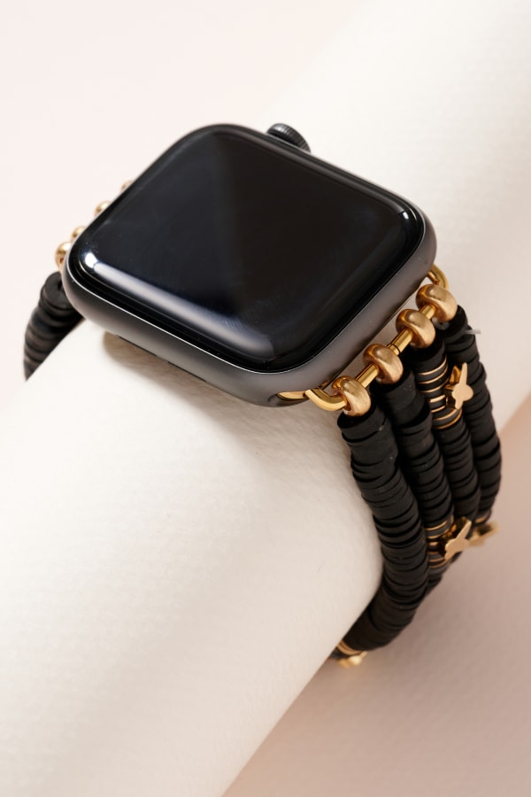 Small Rubber Beads Butterfly Layered iWatch Band - Black - Front