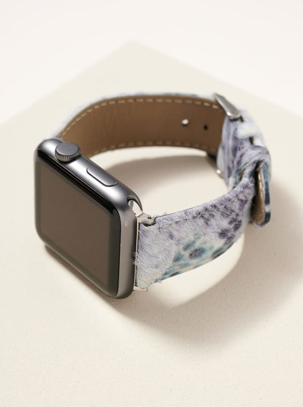 Animal Print Calf Hair Leather iWatch Band Small - Blue - Front