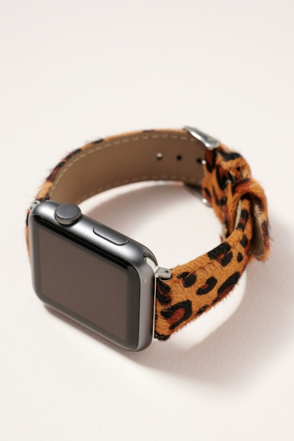 Animal Print Calf hair iWatch Band - Leopard Brown - Front