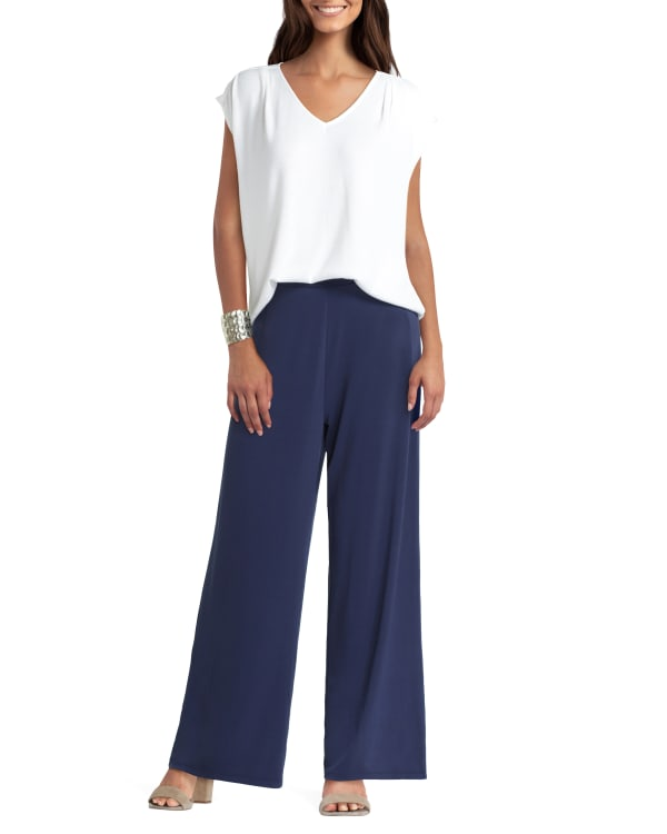 Mix Media Pullover with Extended Shoulder H Halston