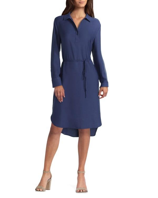 Long Sleeve Wide Cuff Shirt Dress H Halston