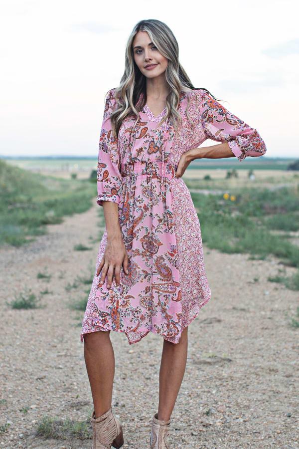 Luna Paisley Hanky Hem Dress