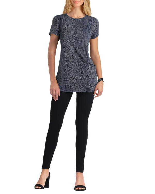 H Halston Cap Sleeve Twist Front Pullover - Abstract Python Classic Navy - Front